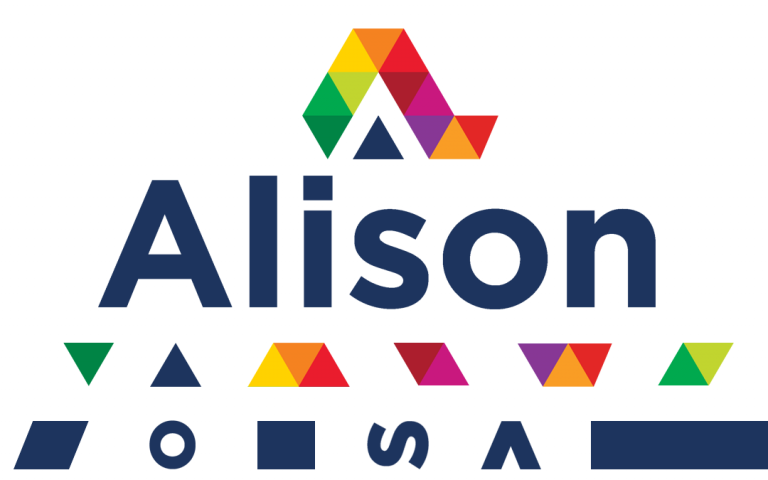 Alison name and logo in whole and parts to show how it came together