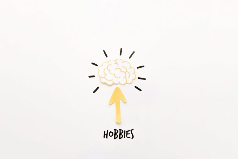 The word hobbies with an arrow pointing up to a brain
